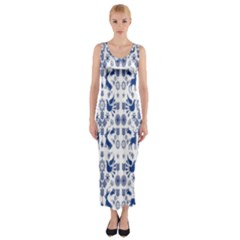 Rabbits Deer Birds Fish Flowers Floral Star Blue White Sexy Animals Fitted Maxi Dress