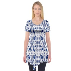 Rabbits Deer Birds Fish Flowers Floral Star Blue White Sexy Animals Short Sleeve Tunic  by Mariart