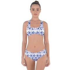 Rabbits Deer Birds Fish Flowers Floral Star Blue White Sexy Animals Criss Cross Bikini Set by Mariart