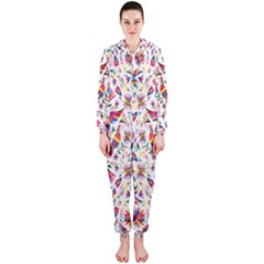 Peacock Rainbow Animals Bird Beauty Sexy Flower Floral Sunflower Star Hooded Jumpsuit (ladies)  by Mariart