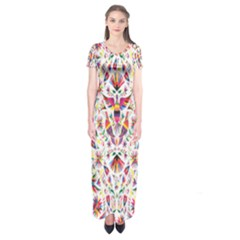 Peacock Rainbow Animals Bird Beauty Sexy Flower Floral Sunflower Star Short Sleeve Maxi Dress