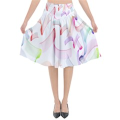 Rainbow Green Purple Pink Red Blue Pattern Zommed Flared Midi Skirt