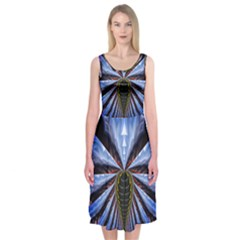 Illustration Robot Wave Midi Sleeveless Dress by Mariart