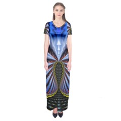 Illustration Robot Wave Short Sleeve Maxi Dress by Mariart