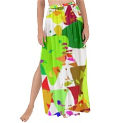 Colorful Shapes On A White Background                           Maxi Chiffon Tie-up Sarong by LalyLauraFLM