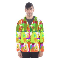 Colorful Shapes On A White Background                             Mesh Lined Wind Breaker (men) by LalyLauraFLM