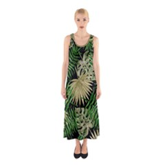 Tropical Pattern Sleeveless Maxi Dress by ValentinaDesign