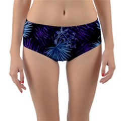 Tropical Pattern Reversible Mid Waist Bikini Bottoms by ValentinaDesign