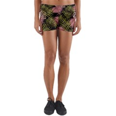 Tropical Pattern Yoga Shorts by ValentinaDesign