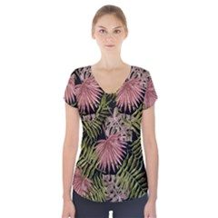 Tropical Pattern Short Sleeve Front Detail Top by ValentinaDesign