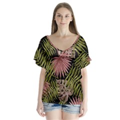Tropical Pattern V Neck Flutter Sleeve Top