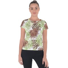 Tropical Pattern Short Sleeve Sports Top  by ValentinaDesign
