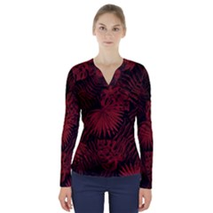 Tropical Pattern V Neck Long Sleeve Top by ValentinaDesign
