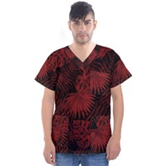 Tropical Pattern Men s V Neck Scrub Top by ValentinaDesign