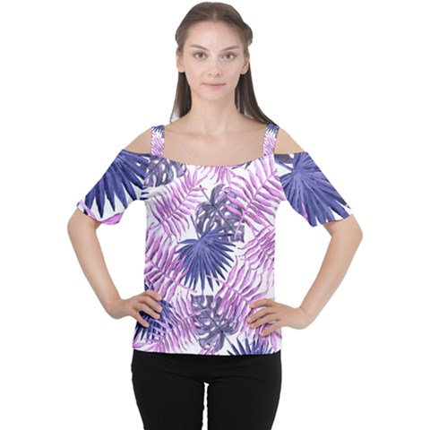 Tropical Pattern Cutout Shoulder Tee by ValentinaDesign