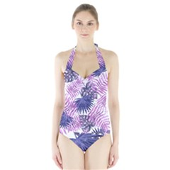 Tropical Pattern Halter Swimsuit by ValentinaDesign