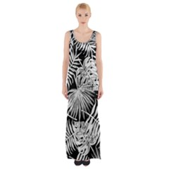 Tropical Pattern Maxi Thigh Split Dress by ValentinaDesign