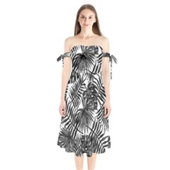Tropical Pattern Shoulder Tie Bardot Midi Dress by ValentinaDesign