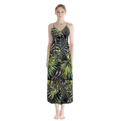Tropical Pattern Button Up Chiffon Maxi Dress by ValentinaDesign