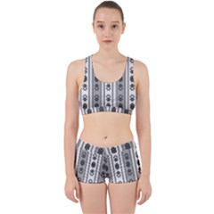 Folklore Pattern Work It Out Sports Bra Set by ValentinaDesign