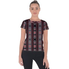 Folklore Pattern Short Sleeve Sports Top  by ValentinaDesign