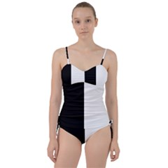 Black And White Sweetheart Tankini Set