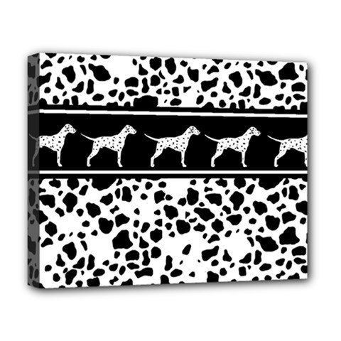 Dalmatian Dog Deluxe Canvas 20  X 16   by Valentinaart