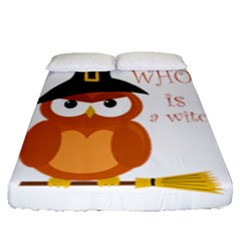 Halloween Orange Witch Owl Fitted Sheet (queen Size) by Valentinaart