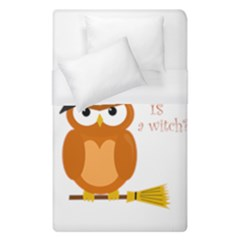 Halloween Orange Witch Owl Duvet Cover (single Size) by Valentinaart