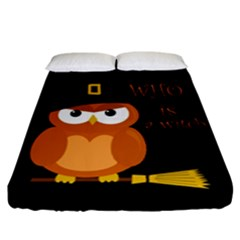 Halloween Orange Witch Owl Fitted Sheet (california King Size)