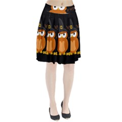 Halloween Orange Witch Owl Pleated Skirt