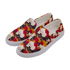 Red & Orange Flowers & Skulls Women s Canvas Slip Ons by PattyVilleDesigns