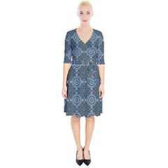 Oriental Pattern Wrap Up Cocktail Dress