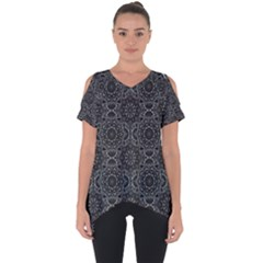 Oriental Pattern Cut Out Side Drop Tee