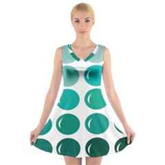 Bubbel Balloon Shades Teal V-neck Sleeveless Skater Dress