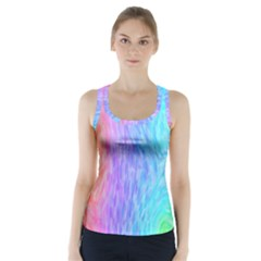Aurora Rainbow Orange Pink Purple Blue Green Colorfull Racer Back Sports Top
