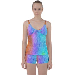 Aurora Rainbow Orange Pink Purple Blue Green Colorfull Tie Front Two Piece Tankini by Mariart