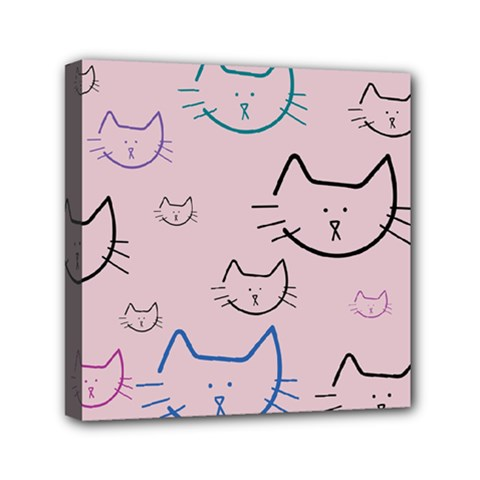 Cat Pattern Face Smile Cute Animals Beauty Mini Canvas 6  X 6  by Mariart