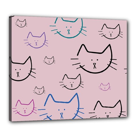 Cat Pattern Face Smile Cute Animals Beauty Canvas 24  X 20  by Mariart
