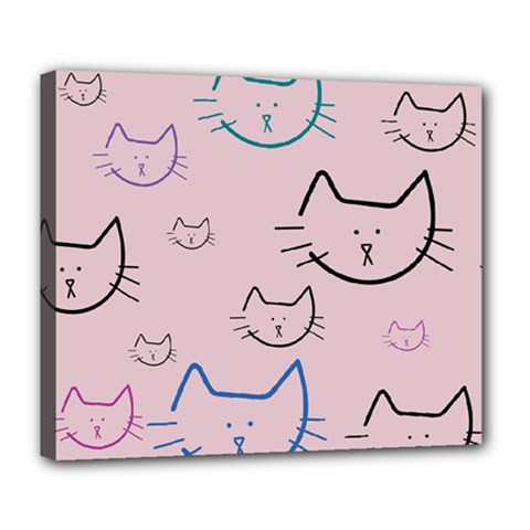 Cat Pattern Face Smile Cute Animals Beauty Deluxe Canvas 24  X 20   by Mariart