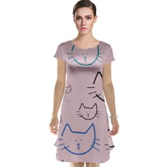 Cat Pattern Face Smile Cute Animals Beauty Cap Sleeve Nightdress