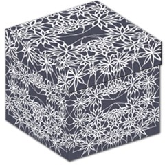 Blue White Lace Flower Floral Star Storage Stool 12   by Mariart