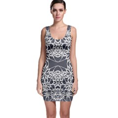 Blue White Lace Flower Floral Star Bodycon Dress