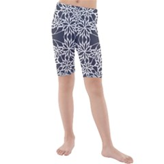 Blue White Lace Flower Floral Star Kids  Mid Length Swim Shorts