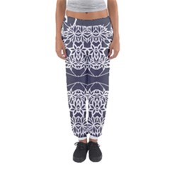 Blue White Lace Flower Floral Star Women s Jogger Sweatpants