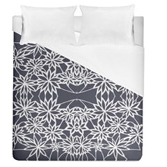 Blue White Lace Flower Floral Star Duvet Cover (queen Size) by Mariart