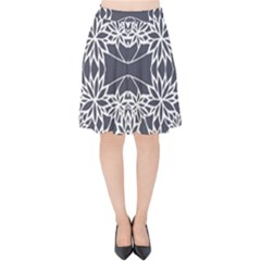 Blue White Lace Flower Floral Star Velvet High Waist Skirt