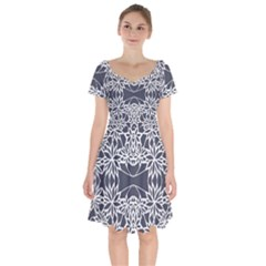 Blue White Lace Flower Floral Star Short Sleeve Bardot Dress