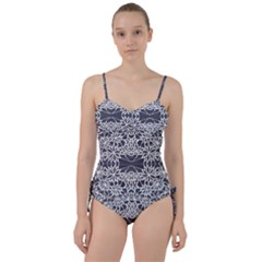 Blue White Lace Flower Floral Star Sweetheart Tankini Set