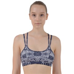 Blue White Lace Flower Floral Star Line Them Up Sports Bra